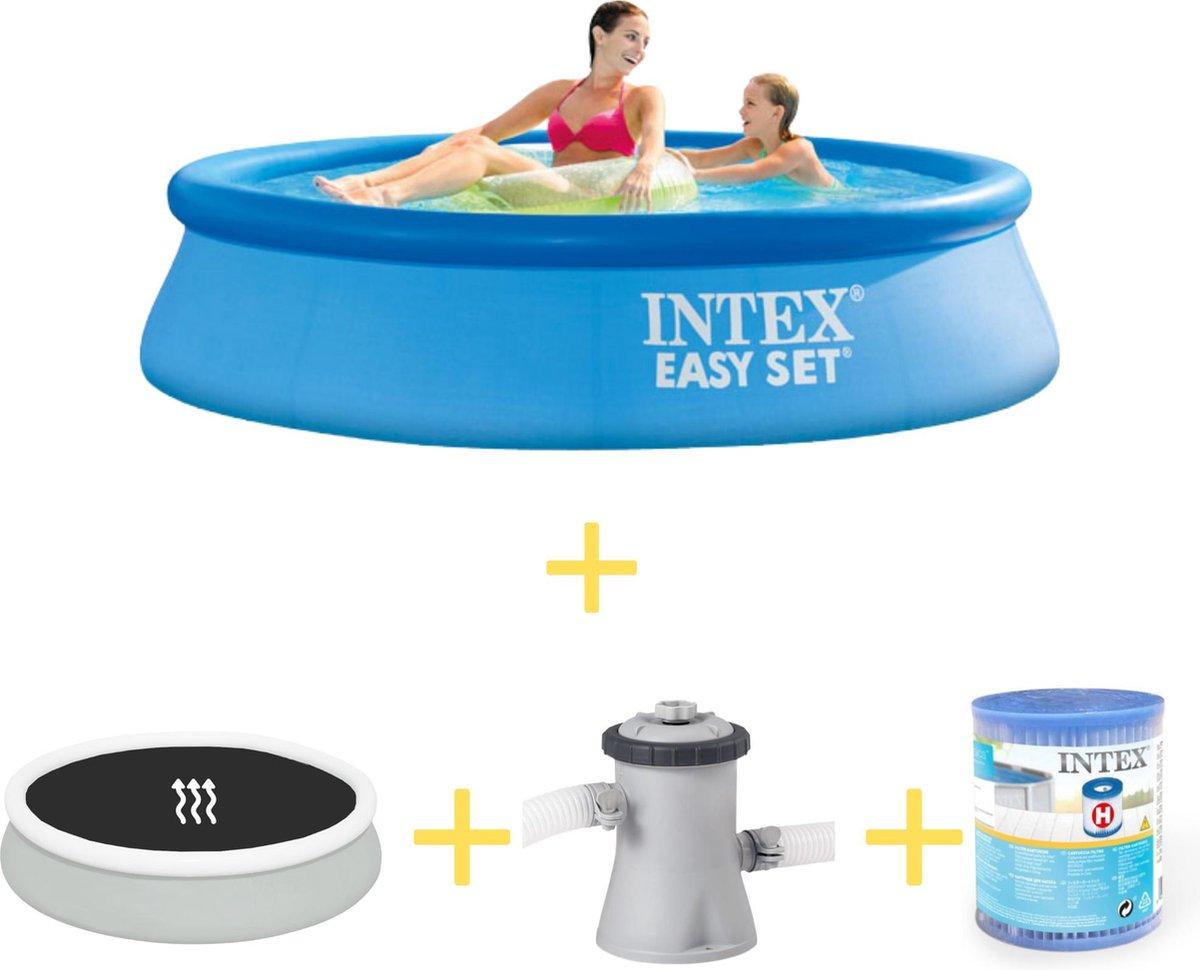 Intex Zwembad - Easy Set - 244 x 61 cm - Inclusief Solarzeil, Filterpomp & Filter