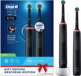 Oral-B Pro 3 3900 - Zwart - Elektrische Tandenborstel - Ontworpen Door Braun - 2 Handvatten en 2 opzetborstels