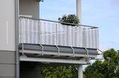 Lifetime Garden Balkonscherm - Balkondoek - 0,75x6m - UV-Resistent - Gestreept Wit/ Grijs