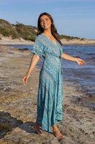 Ibizaflower zijde omslagjurk lang - blauw
