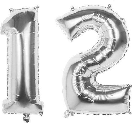 12 Jaar Folie Ballonnen Zilver - Happy Birthday - Foil Balloon - Versiering - Verjaardag - Jongens - Meisjes - Feest - Inclusief Opblaas Stokje & Clip - XL - 82 cm