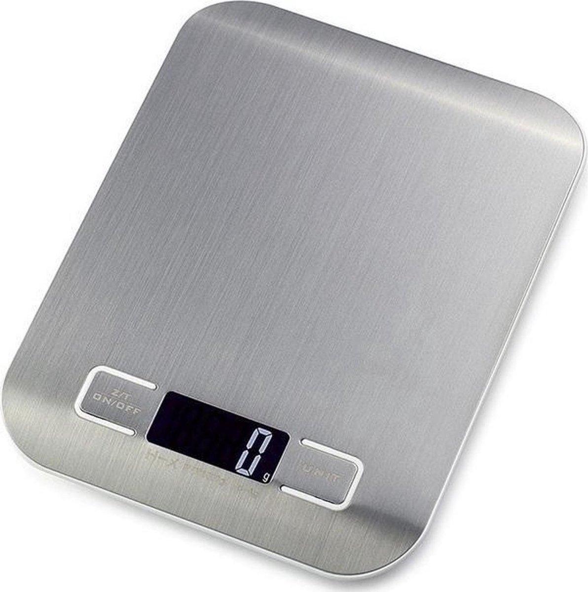 Digitale Weegschaal Keuken - incl. Batterijen - Precisie Keukenweegschaal - tot 5000 gram - Zilver -