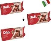 3X Pack Origineel DAS Air Dry Clay | Klei - Das Klei Terracotta  500gr |  luchtdrogende klei