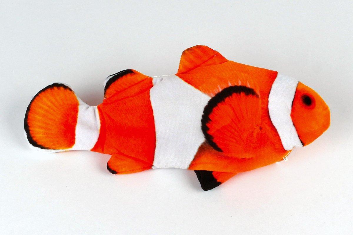 Electrische vis, oranje zwart wit, kattenspeeltje, 30cm, katten speeltje, speelvis, honden speeltje,