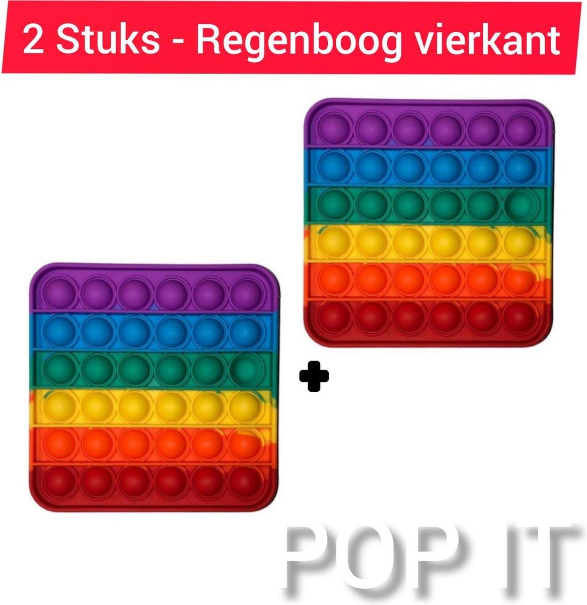 Fidget toys | Pop IT | Fidget toys pakket set van 2 stuks | 2 x Rainbow regenboog vierkant | Meisjes√ jongens√ volwassenen√ | Trend 2021 | Cadeautip _ Leuk voor zwembad