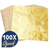 Bladmetaal – 100 vellen - GOUD - Imitatie bladgoud – GROTE VELLEN >> 16*16cm - A-kwaliteit