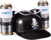 relaxdays drinkhelm piraat - bierhelm - feesthelm voor 2 blikjes - met slang - zwart