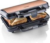 Bestron ASM90XLCO Tosti Apparaat XL - Contactgrill - Sandwich Maker - Met Anti-aanbaklaag  en Indicatielamp - Automatische Temperatuurregeling - Hittebestendige Handgreep - Veiligheidskeurmerk - Grillapparaat - Voor 4 Sandwiches - Toaster