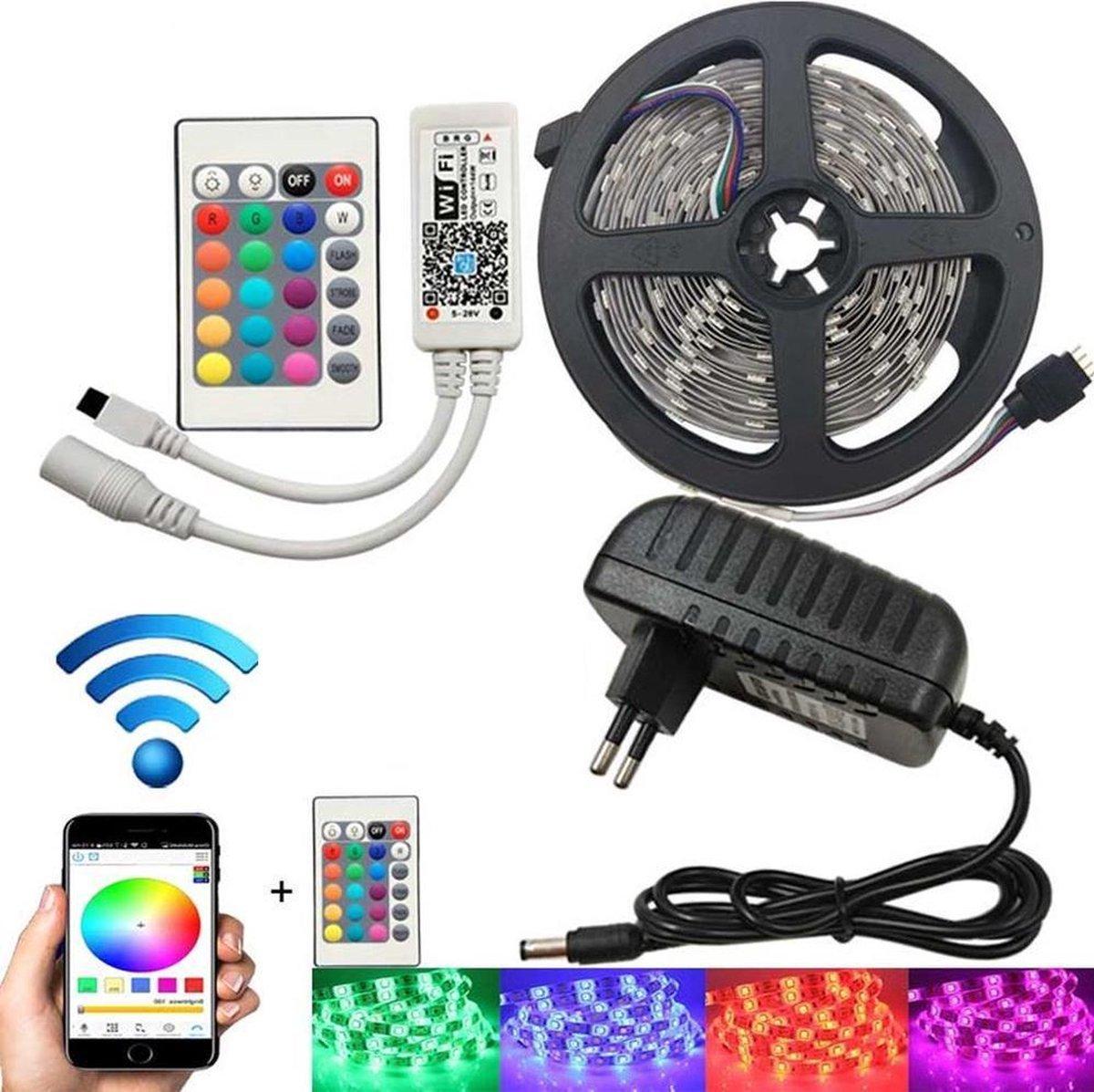 2 x 5Meter RGB multicolor Ledstrip met WiFi functie - IP65 - 5050 60 Led/m