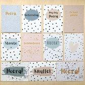 Kaartenset | Verjaardagskaarten | Wenskaarten | Beterschap | Sterkte | Knuffel | Je bent geliefd | Hoera | Gefeliciteerd | Verjaardag | Set 11 kaarten