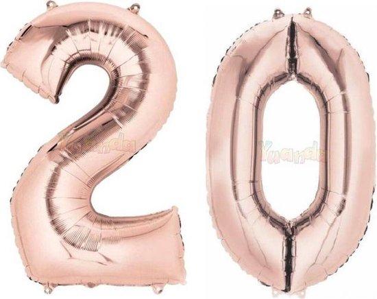 20 Jaar Folie Ballonnen Rosé Goud - Happy Birthday - Foil Balloon - Versiering - Verjaardag - Man / Vrouw - Feest - Inclusief Opblaas Stokje & Clip - XXL - 115 cm