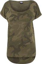 Urban Classics Dames Tshirt -2XL- Camo Back Shaped Groen