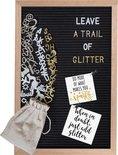 Gadgy Letterbord zwart vilt – Houten lijst - 30x45cm - inclusief 3 kleuren letters etc.- leuk cadeau