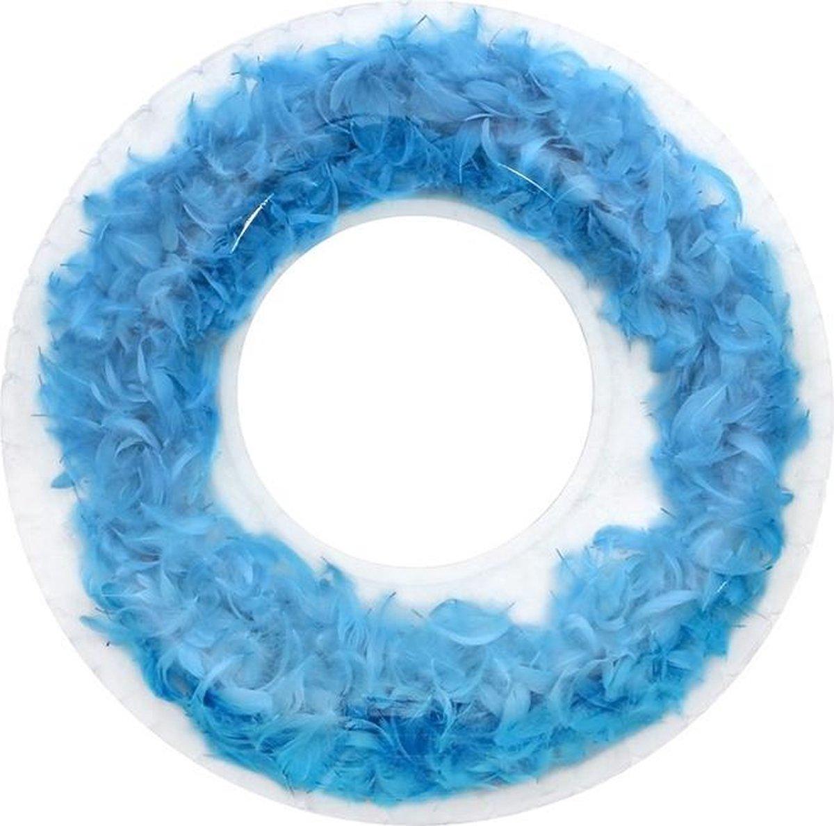 ✿Brenlux ® Opblaasbaar waterspeelgoed - Zwemband - Opblaasbare ring met pluimen - Trendy zwembadspeelgoed - Ronde opblaasbare ring met echte pluimen in - Grote opblaasbare ring van 90 cm - Zwembadring met veren