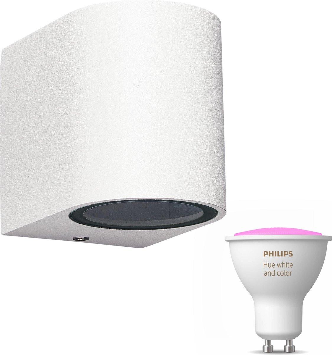 Mantra Kandachu wandlamp rond - wit - 1 lichtpunt - Incl. Philips Hue White & Color Ambiance Gu10 (geschikt voor buitengebruik)
