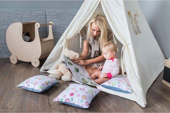 Sunny Alba Tipi Tent Crème - Wigwam Speeltent met ramen - 120x120x160cm - met Kussen kleed