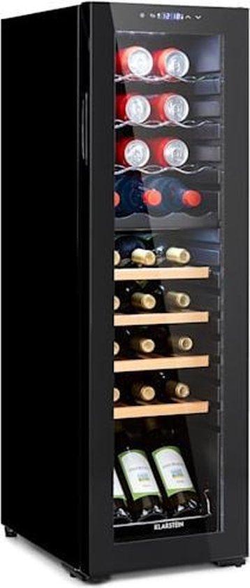 Koelkast: Klarstein Bodega 27 Duo+ - Wijnkoelkast  74 liter met twee zones - drankenkoeler voor 27 wijnflessen - compressiekoeling - glazen panoramadeur met uv-bescherming - 47 dB, van het merk Klarstein