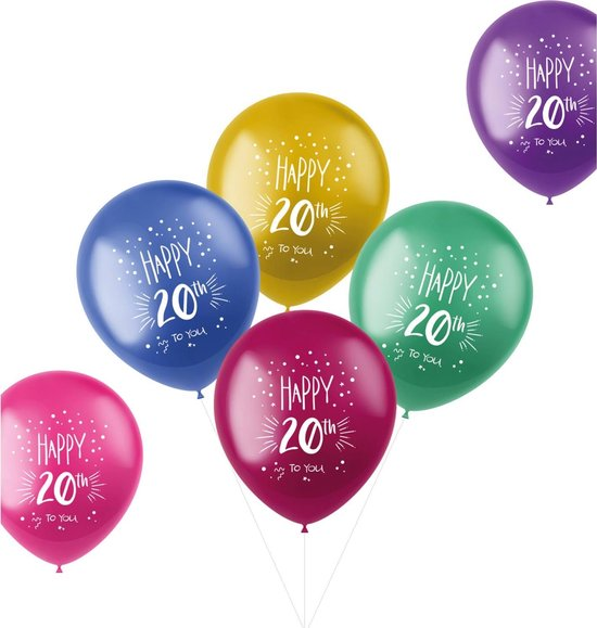 Ballonnen Shimmer 20 Jaar Meerkleurig 33 cm - 6 stuks
