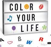 Gadgy Lightbox A4 – Batterij of USB - met USB kabel, zwarte en gekleurde letters, emoticons - cadeau