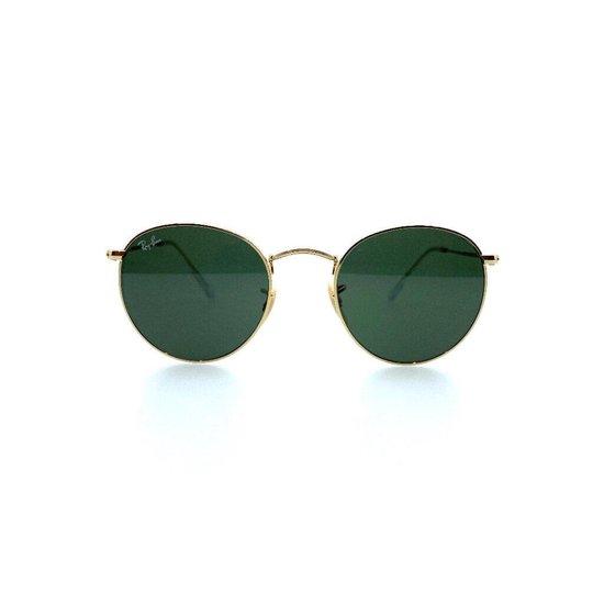 Ray-Ban 3447 001, Round, goudkleurig, groengrijze glazen, maat 47