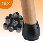 FLOOQ - Stoelpoot Doppen – 12-16mm – met Anti-Kras Vilt – Stoelpoot beschermers - Vloerbescherming – Stoelpootbeschermers – 24 Stuks – Zwart – Rond