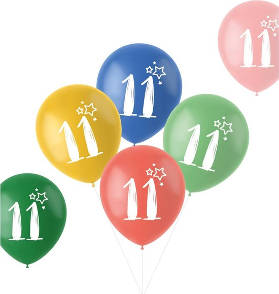 Ballonnen Retro 11 Jaar Meerkleurig 33 cm - 6 stuks