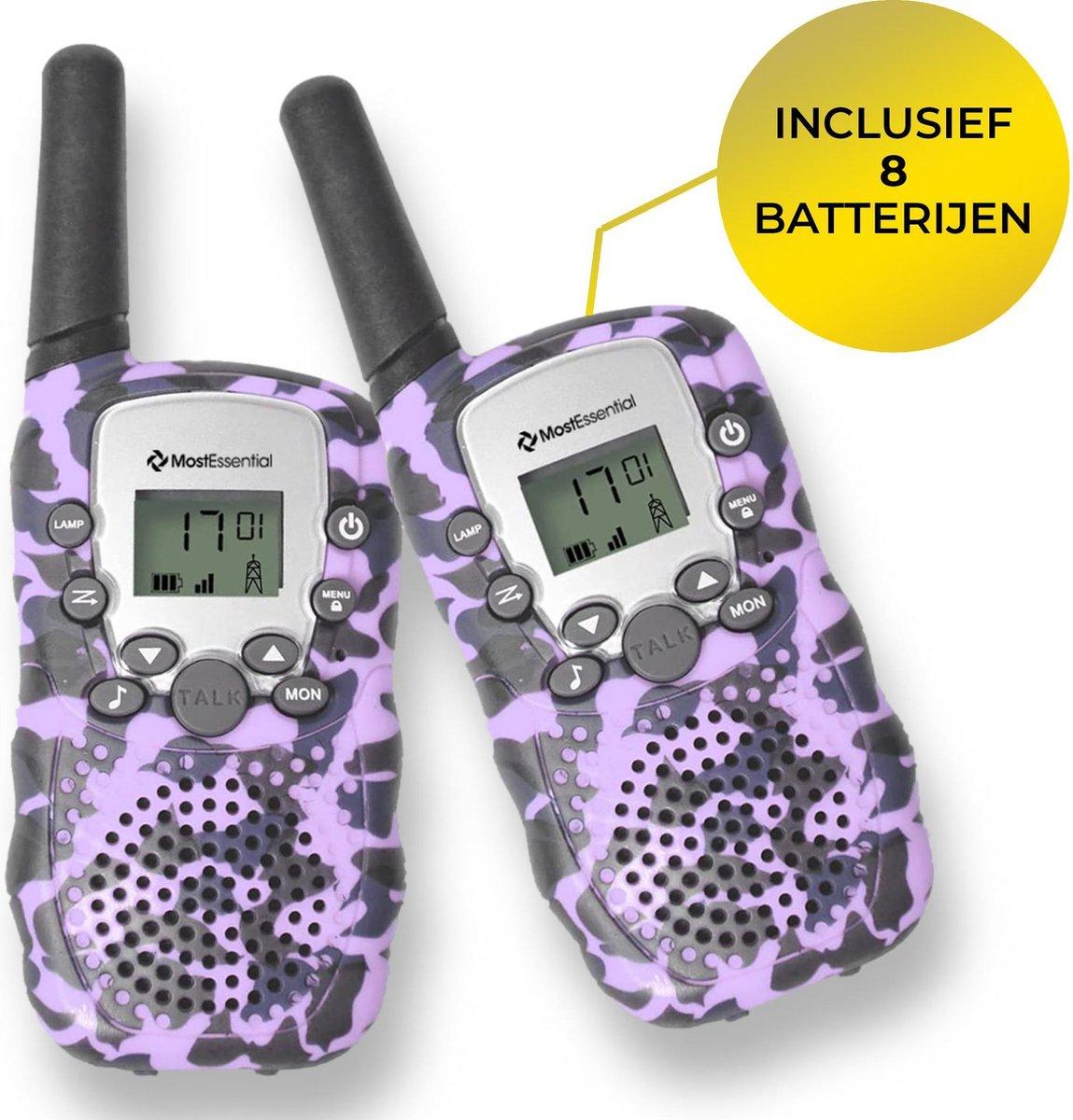 MostEssential Premium Walkie Talkie voor Kinderen - Walkie Talkie - Portofoon - Inclusief 8 Batterijen - Paars