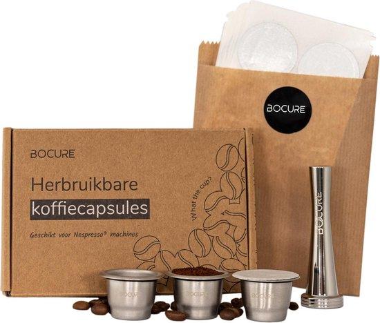 BOCURE herbruikbare koffie/thee capsules voor Nespresso - set   3 cups