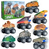 Allerion Dino Trek Auto's – Set van 8 Verschillende – Voertuigen met Dinosaurussen