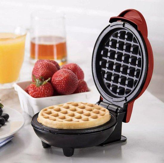 Mini wafelijzer - Non-Stick - Wafels - Mini Waffle maker - L16xB12xH8,5cm - Rood