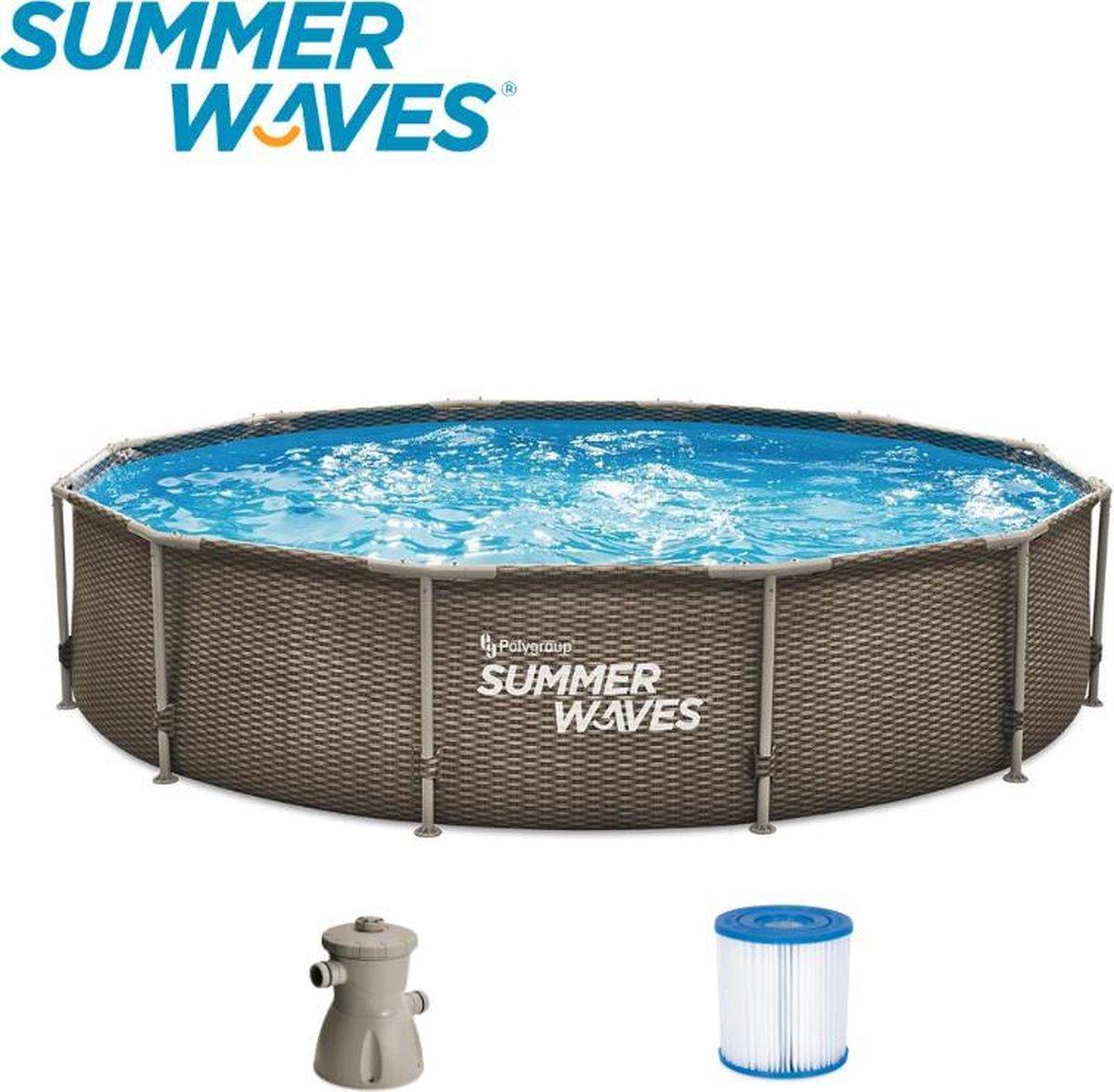 Summer Waves Frame Zwembad   Rotan l Look   Ø 366 cm x 76 xm   Inclusief Filterpomp   Bruin