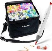 Ohuhu - Alcohol based Art markers Brush & chisel - set van 120 + Blender + etui