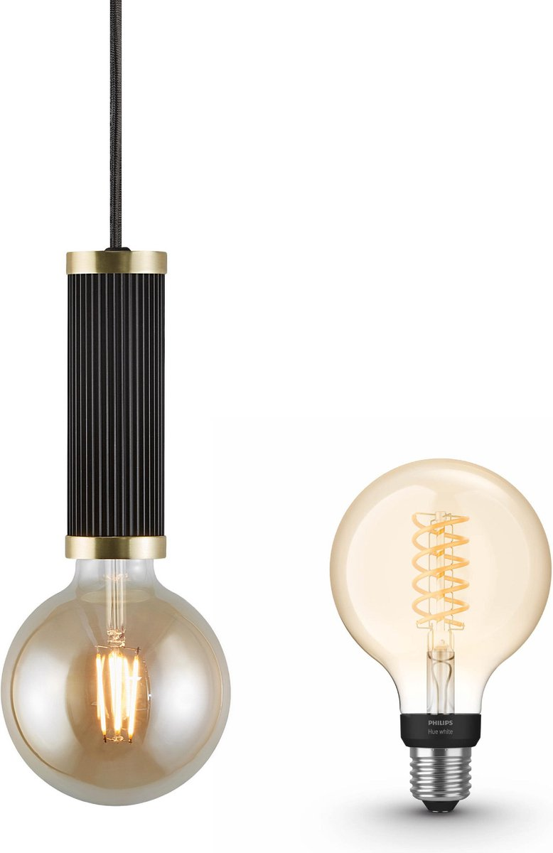 Nordlux Galloway hanglamp - LED - zwart - 1 lichtpunt - incl. Philips Hue White Filament Globe klein E27