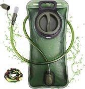 FEDEC Rugzak Waterzak - Backpack - Met slangetje - BPA Vrij - 2 Liter - Groen