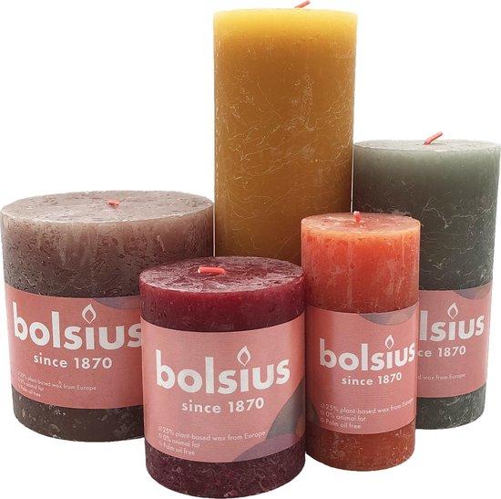 Bolsius rustiek stompkaars Warme kleuren mix (bruin oker geel groen)