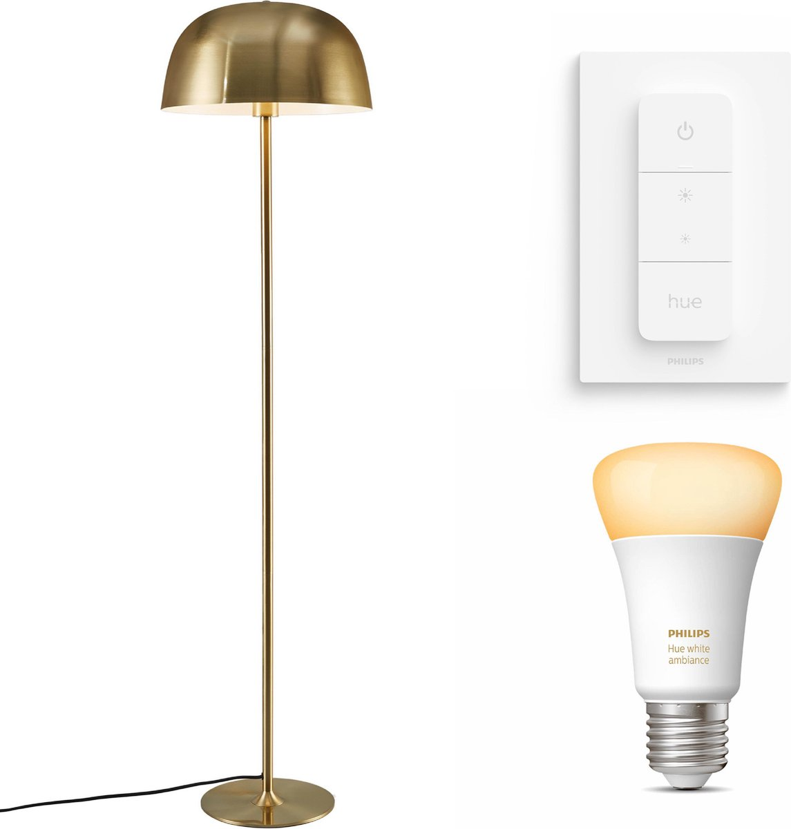 Nordlux Cera vloerlamp - LED - goud - 1 lichtpunt - incl. Philips Hue White Ambiance E27 & dimmer