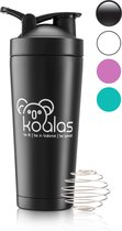 Koalas® RVS Shakebeker – Proteïne Shaker – Shake Beker - BPA Vrij – Thermosfles 750 ml  - Zwart