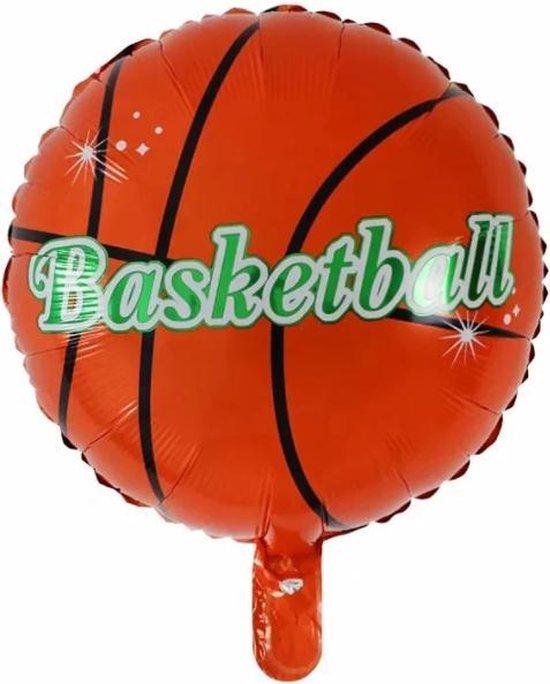 Basketball Ballon - Sport - 45x45cm - Teamsport - Winnen - Ballonnen - Helium Ballon - Folie Ballon - Kinderverjaardag - Thema feest - EK / WK - Verjaardag - Folie ballon - Leeg - Versiering