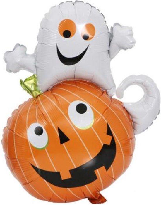 Pompoen & Spook Ballon - XL - 90x60cm - Ballonnen - Halloween - Thema feest - Verjaardag - Helium ballon - Horror - Folie ballon - Leeg - Halloween Versiering - Halloween accessoires - Halloween decoratie