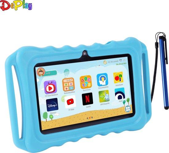 Kids Tablet - Kindertablet - Ouder Control App - Disney - Netflix Kids - Android 10.0 - 3000 Mah Batterij - Tablet Houder - Kidsproof Beschermhoes - Incl. Touchscreen Pen - Blauw