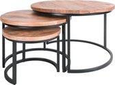 Salontafel Set van 3 - Industriële Salontafelset Erjan - Mangohout