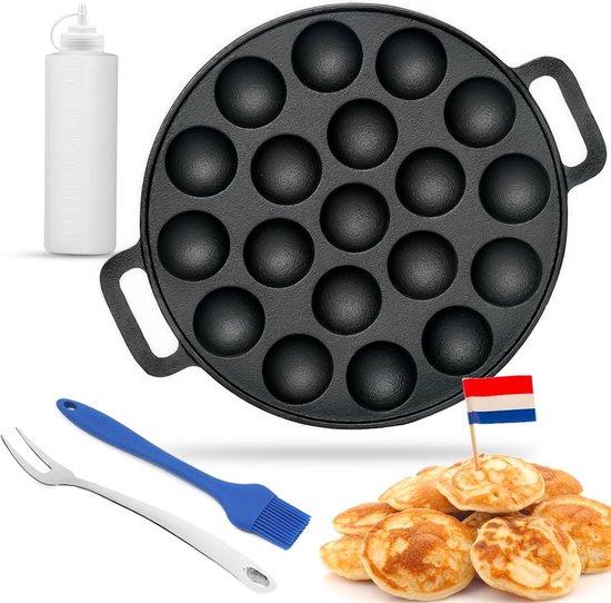 AWEMOZ® Poffertjespan Set - Incl. Doseerfles, kwast en vork - Poffertjesmaker...