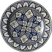 Handgemaakte Marokkaanse aardewerk schaal Ø35