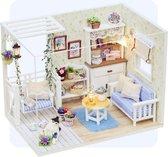 Miniatuur Bouwpakket Volwassenen - Modelbouwpakketten - Compleet Modelbouw Pakket - DIY Houten Poppenhuis - Met Lijm, Gereedschap, LED licht - Katten Huisje - 11,6x17,1x13,2 cm