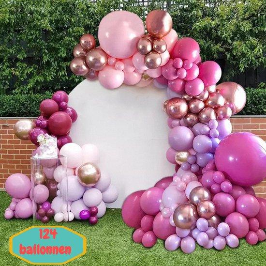 Baloba® Ballonnenboog Rose Goud, Paars, Fuchsia & Macaron Roze Ballonnen - Feest Versiering Pakket - Verjaardag Bruiloft Decoratie - 124 Ballonnen