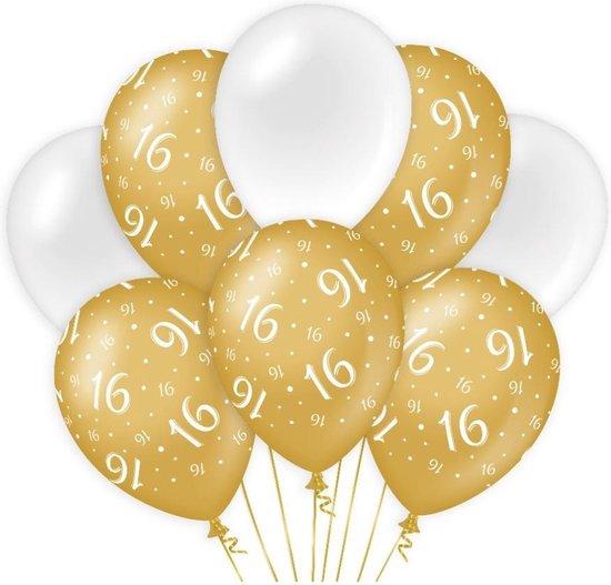 Decoratie Ballonnen Goud/Wit 16 Jaar