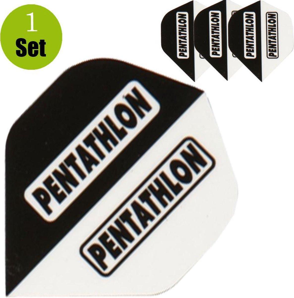 Pentathlon Dartflights - Zwart - Wit- ()