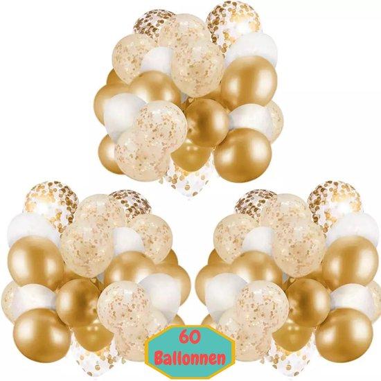 Baloba® 60 stuks Gouden, Wit & Papieren Confetti Ballonnen met Lint - Helium Latex Ballonnen
