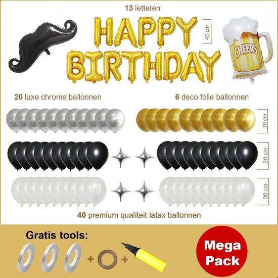Ballonnen Pakket 84 delig Premium Kwaliteit Zwart Goud, Folie, Latex, Megapack, Verjaardag, Happy Birthday, Feest, Party, Set, Decoratie, Versiering, Miracle Shop
