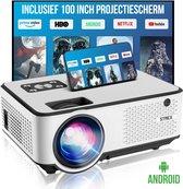 "Strex Beamer ANDROID - Input tot Full HD - 6500 Lumen - Streamen Vanaf Je Telefoon Met WiFi - Mini Projector - Incl. 100"" Projectiescherm"
